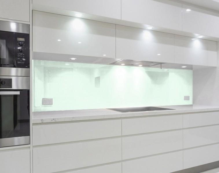 Küchenrückwand - WEISS mit leichtem Grün-Schimmer