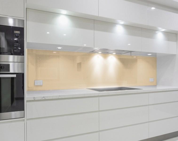 Glas Küchenrückwand nach Maß - HELL-BRAUN / MACCHIATO