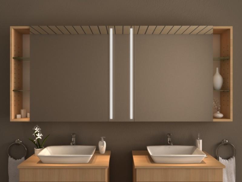 Spiegelschrank mit Beleuchtung - Negro