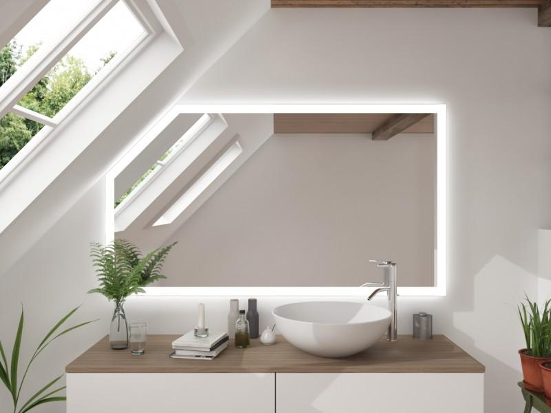 LED Badspiegel mit Dachschräge Kenpach