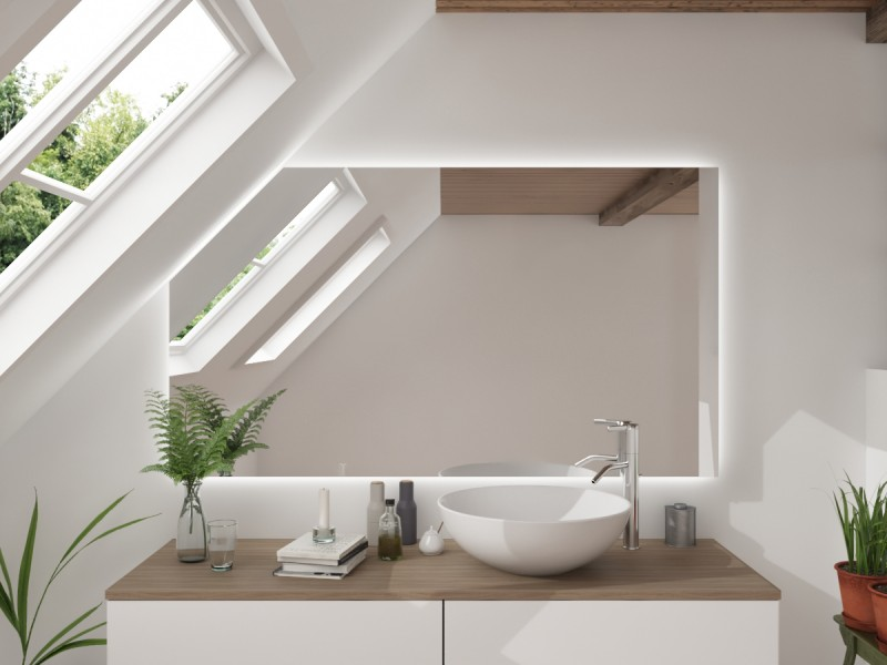 LED Badspiegel mit Dachschräge Tartu