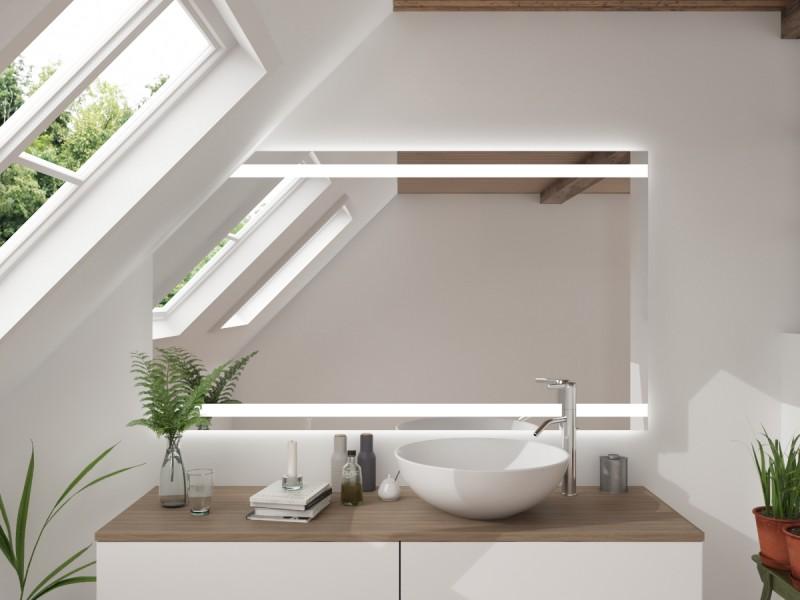 LED Badspiegel mit Dachschräge Luitona